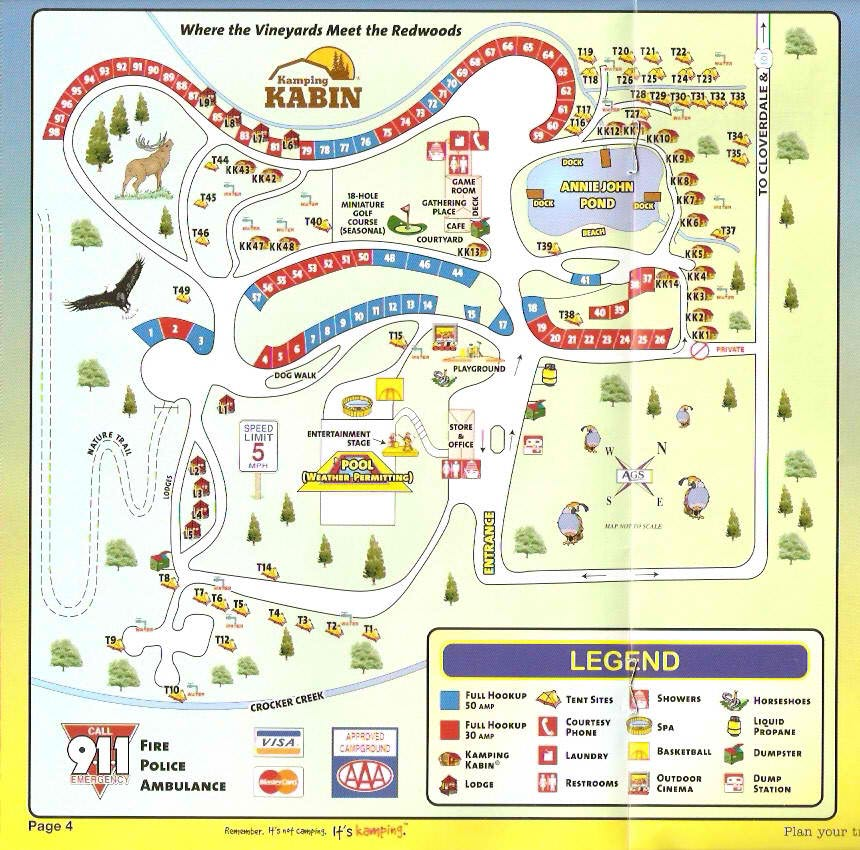 Site Map: Cloverdale, California RV Camping Sites