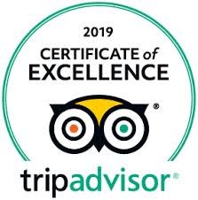 Trip Advisor 2019 Certificate of Excellence Award Received