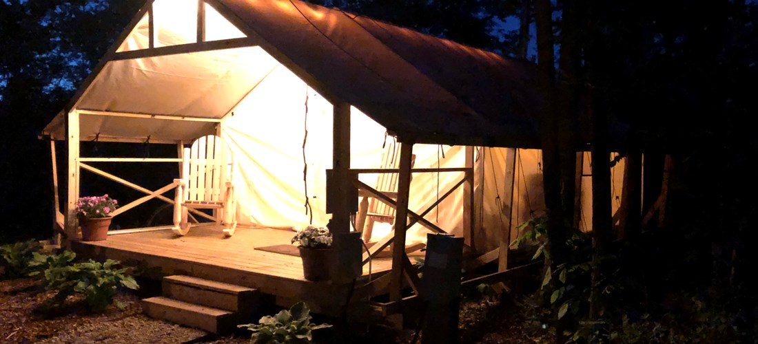 Luxury Glamping Tent Sites at night