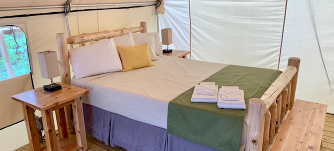 "Luxury ""Glamping"" Tent queen bed with (shown with linen package)"