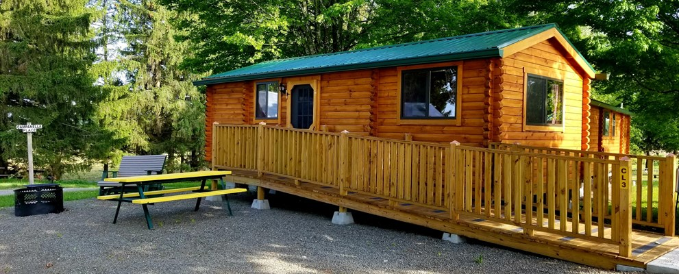 Ramped entrance for easier access to one of the deluxe log lodges, sleeps up to 5