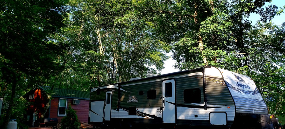 Travel Trailers situated on shaded sites