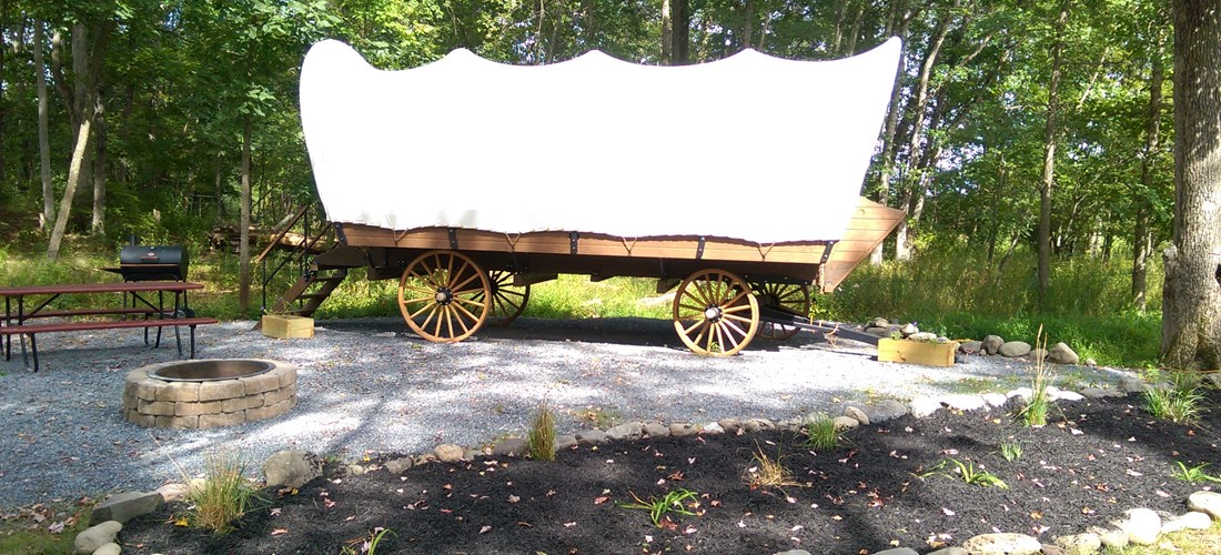 Conestoga Wagon on Landscaped Site