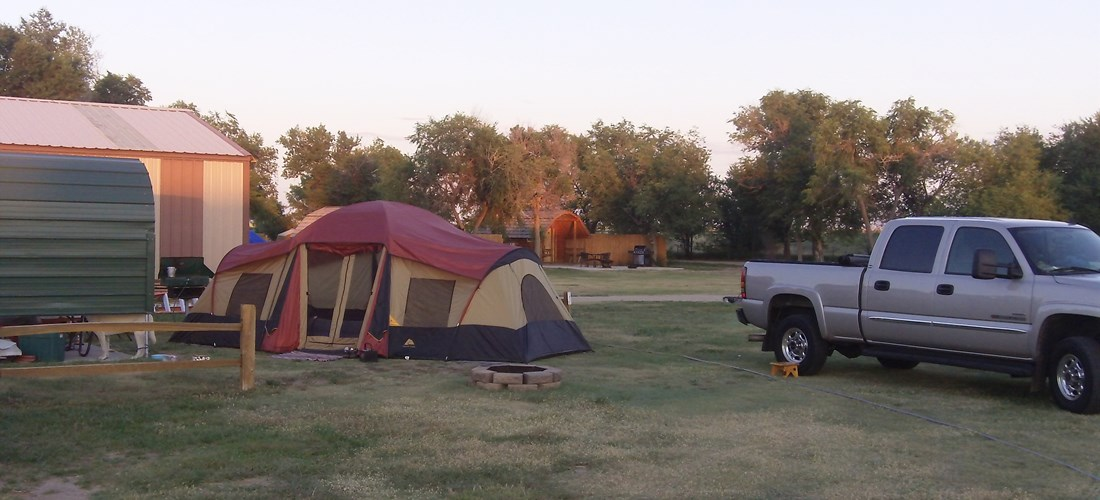 Tent sites have a shade awning fire pit and picnic table for our guests to enjoy.
