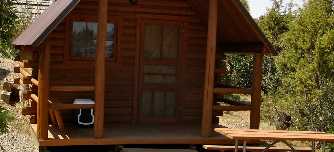 Camping cabin that sleeps up to 4 people. No bathroom but located near the bath house (before Memorial Day & after Labor Day cabin may not be near bath). 1 Bunk Bed set, 1 Full bed, A/C and Heat control, picnic table, NO kitchen.