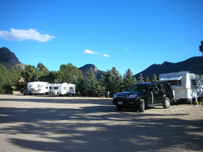 Quiet park geared to adults in Estes Park with 22 full hook up RV sites with.