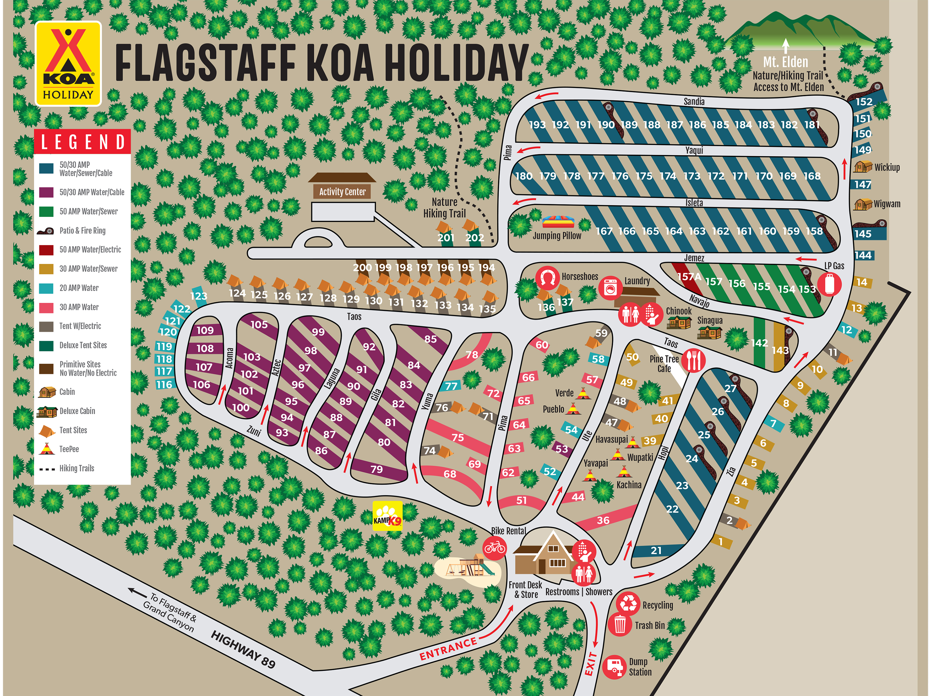 us map of koa campgrounds Flagstaff Arizona Campground Map Flagstaff Koa