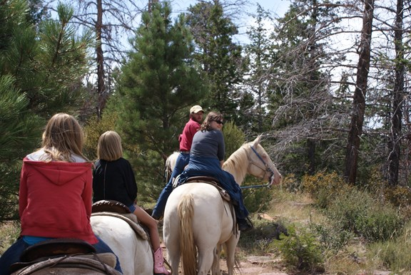 Horseback riding at the nearby Red Canyon