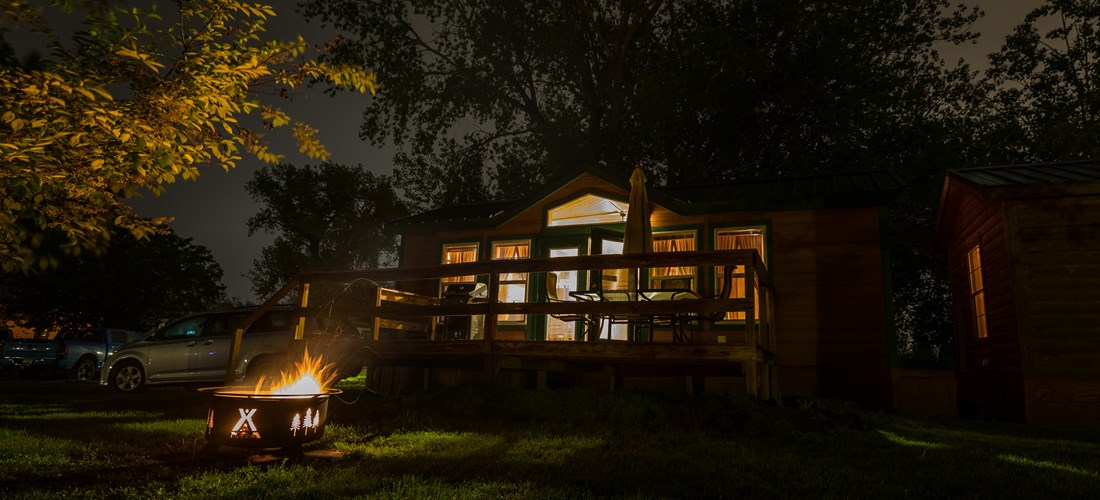 Nighttime view of lodge