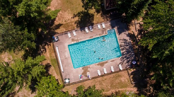 Overhead picture of the pool