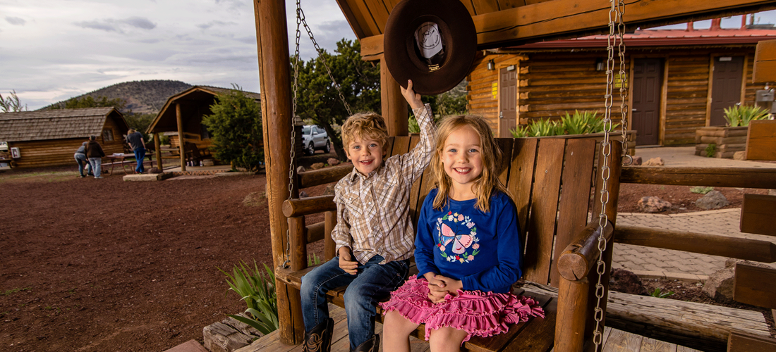 Camping Cabin Front Porch & Swing...Enjoy the Great Outdoors near the Grand Canyon