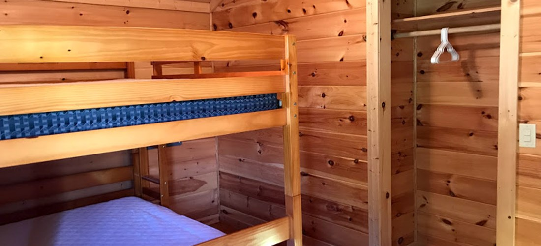 Cabin #1 Bedroom - full size bunk bed