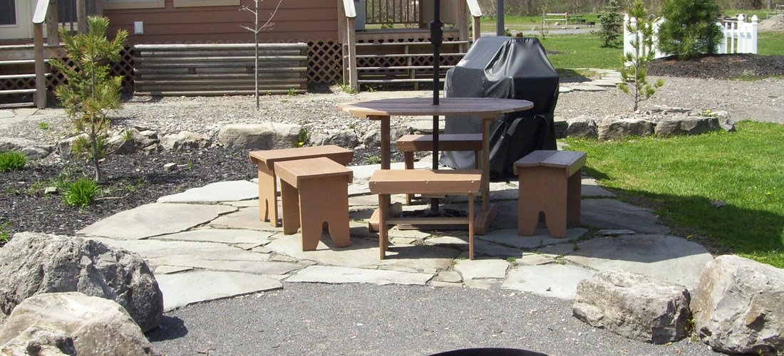 Solar 3 fire pit and outdoor eating area