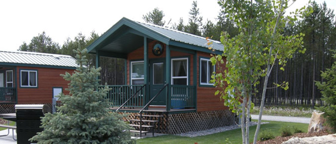 Exterior of a studio lodge with bathroom.