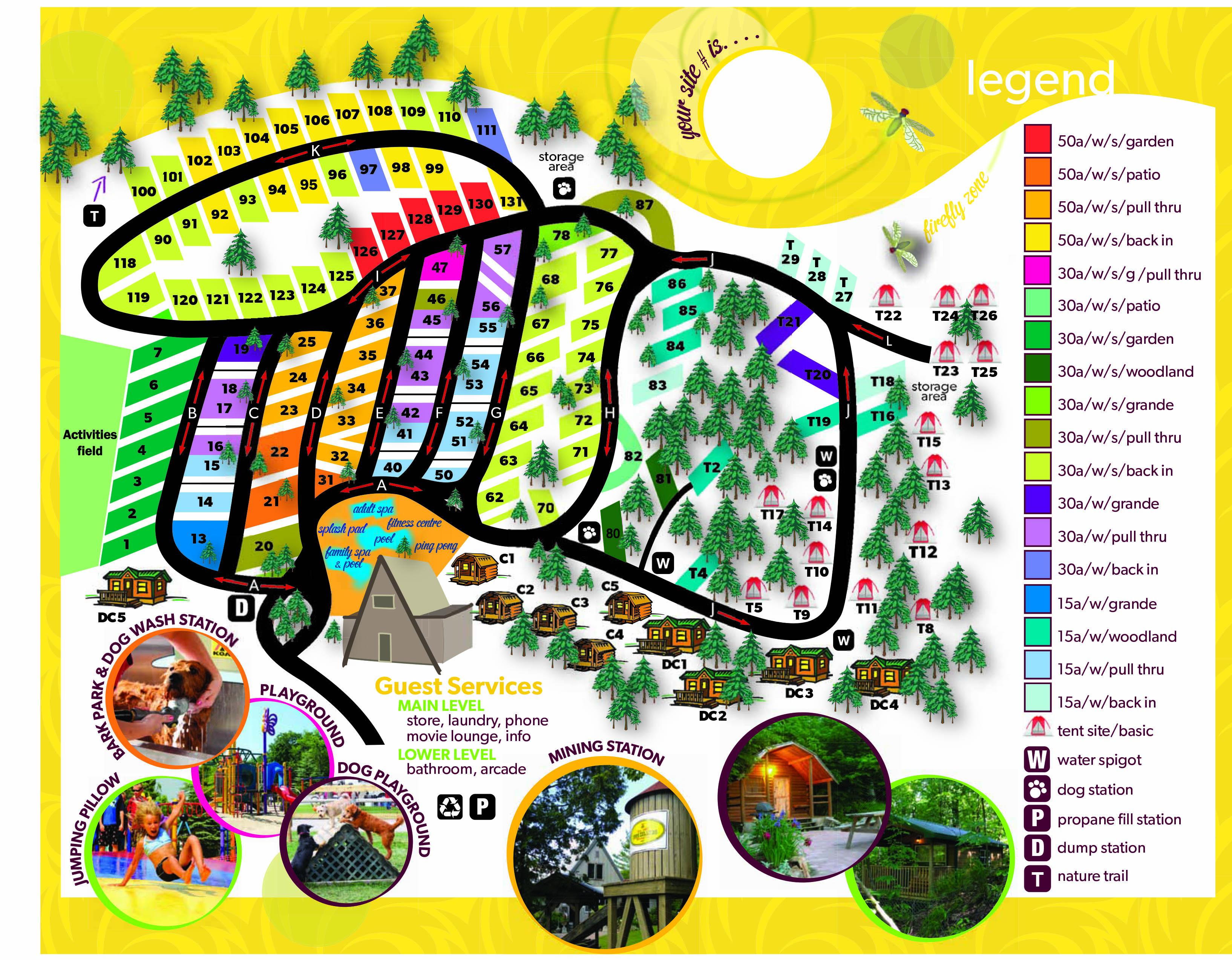 Koa Canada Map Lansdowne, Ontario Campground Map | 1000 Islands / Ivy Lea KOA