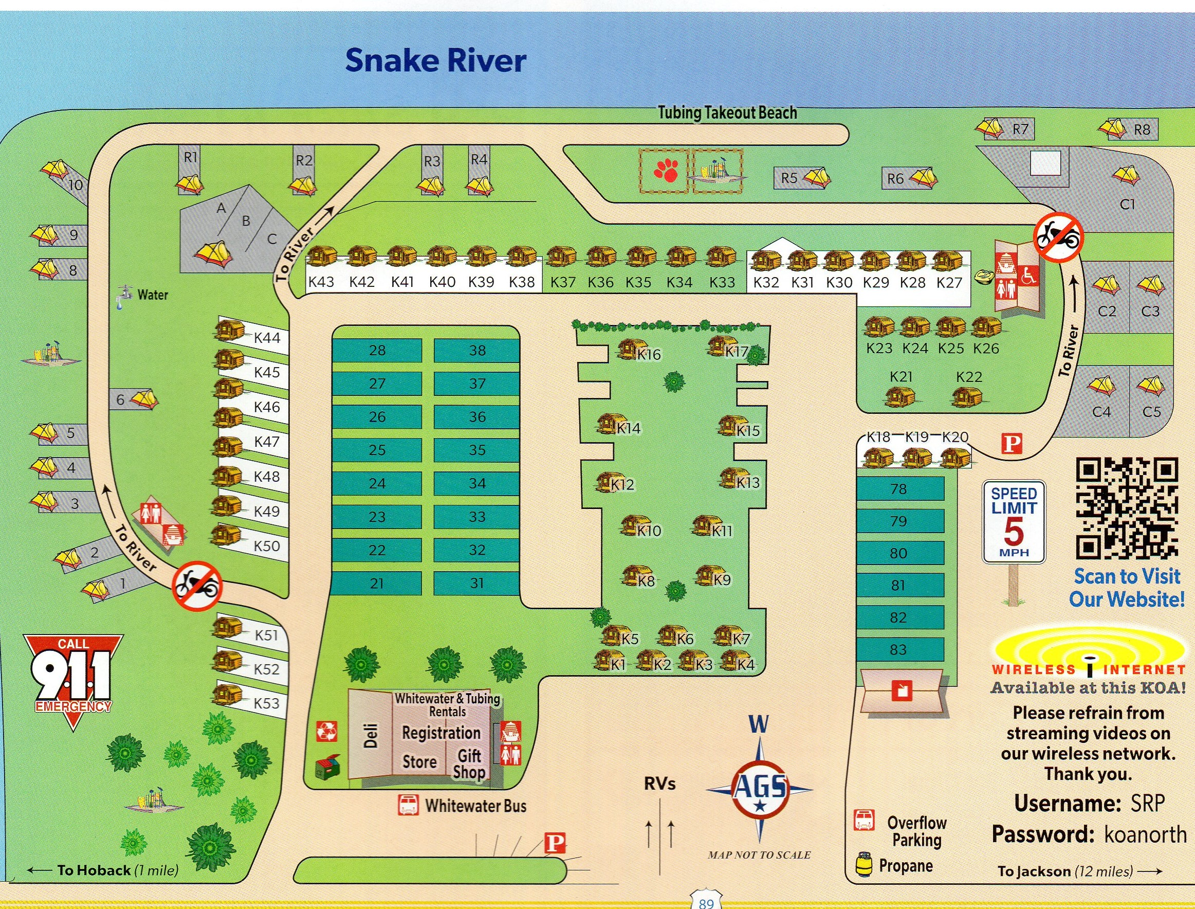 Jackson Wyoming Lodging Hole Snake River Koa Wiring Diagram Campground Site Map