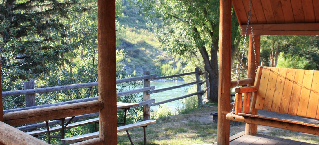 Porch of our Camping Cabins that overlook the river