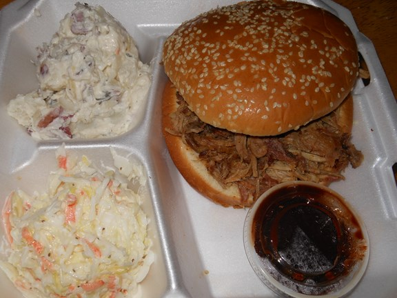 Pulled Pork Sandwich with Slaw and Potato Salad