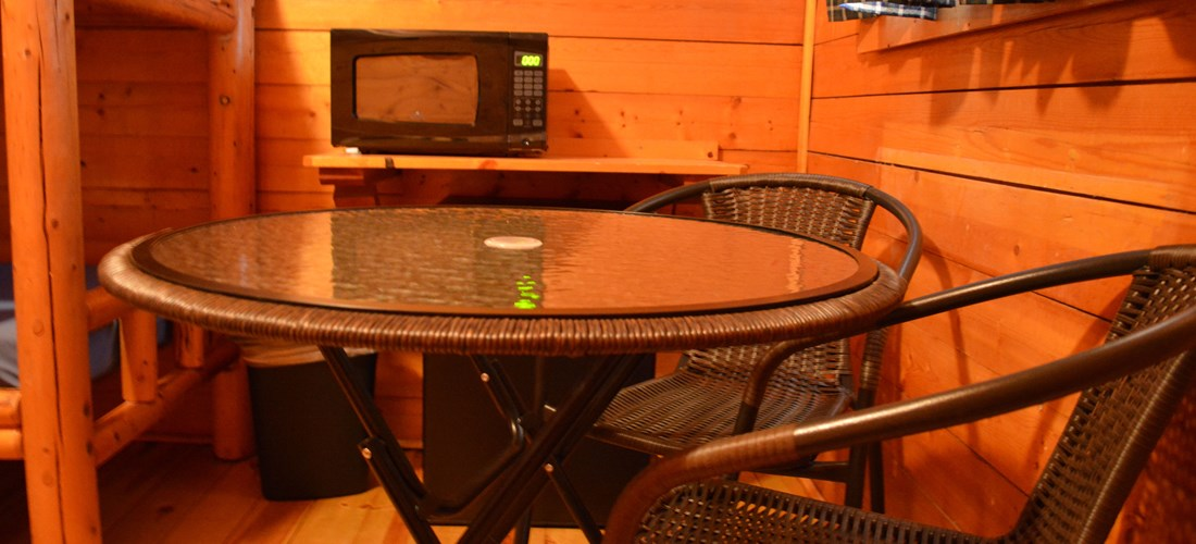 Table Near Microwave & Refrigerator