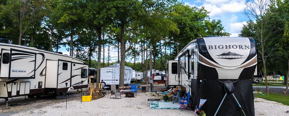 Very spacious back-in site in the first row. If you have a job-site near the area and need a place to put your camper in these sites can accommodate your needs.