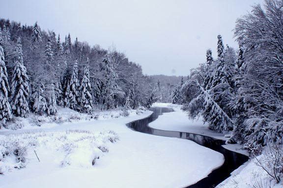 The Snowy Ausable Behind the Campground