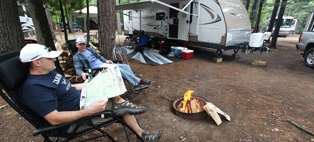 Relaxing and planning your day at Lake Placid/Whiteface Mtn. KOA
