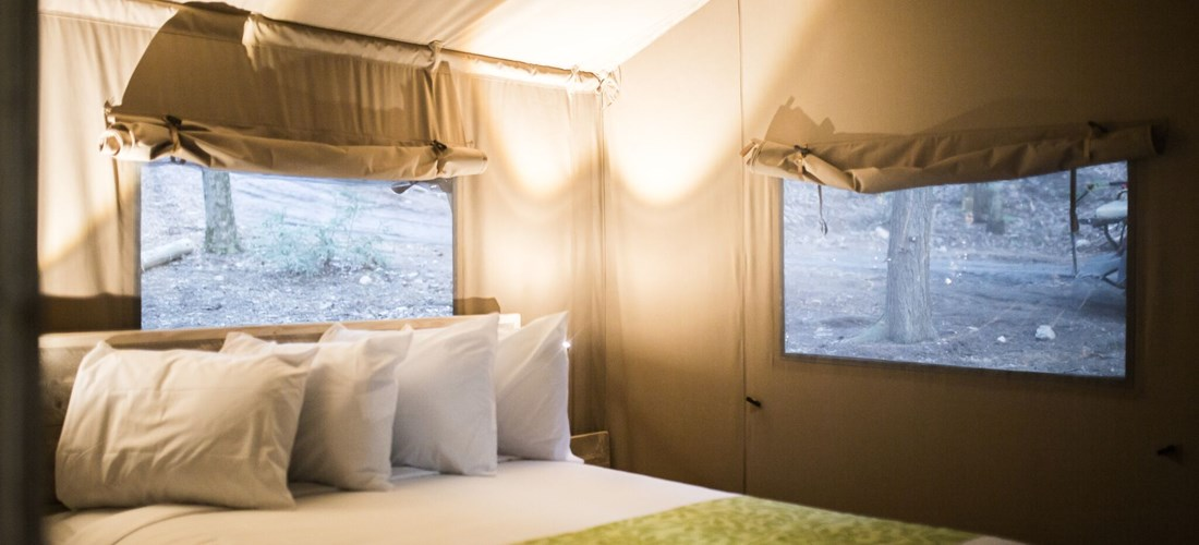The master bedroom in our Glamping tents