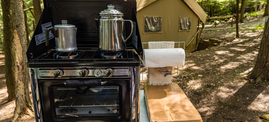 Camp stove at Glamping Tent