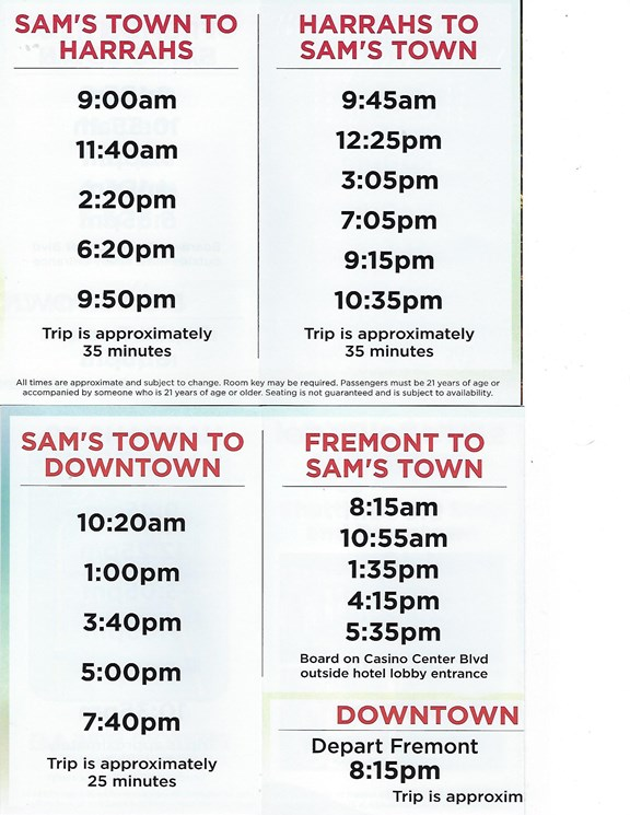 Sam's Town Shuttle to the strip