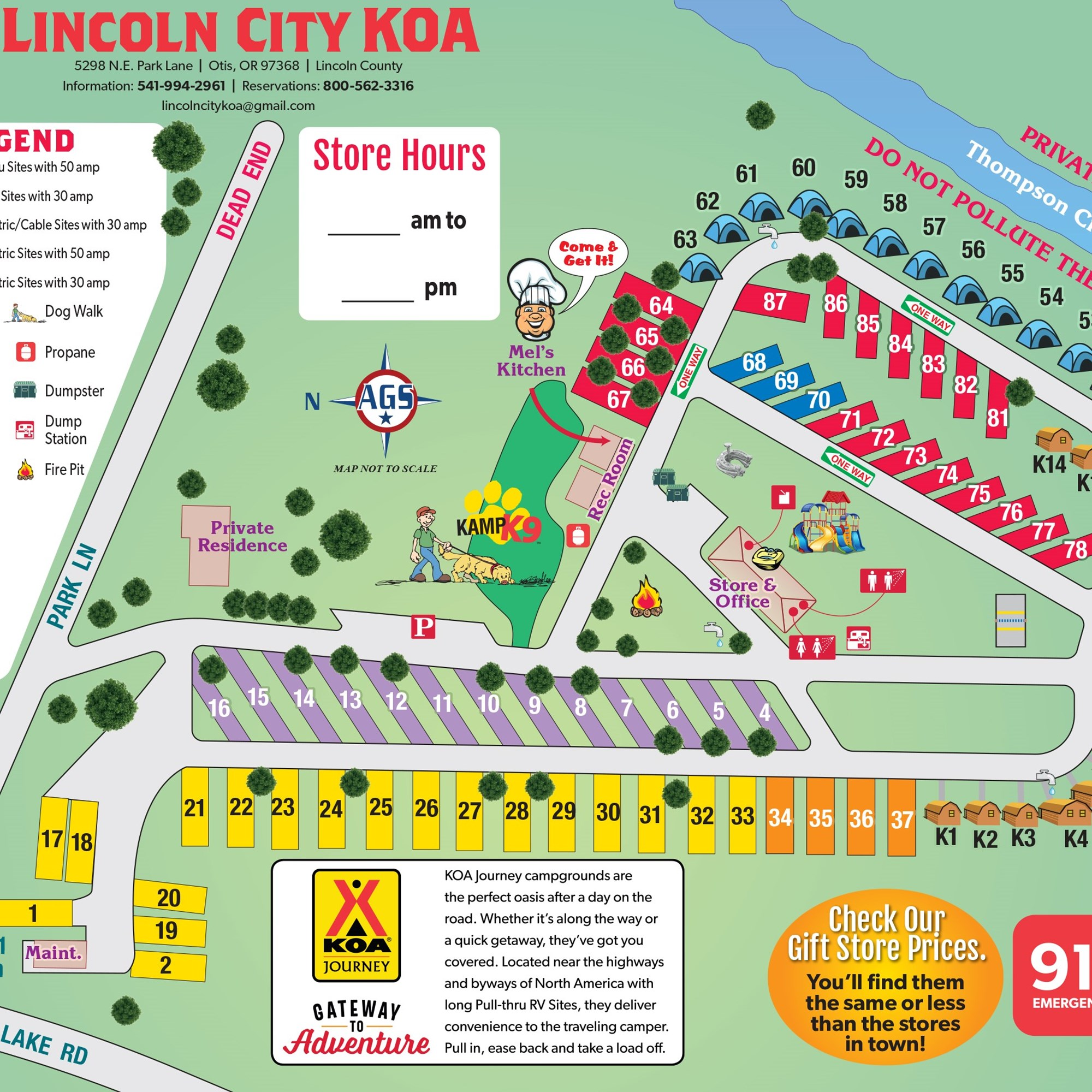 Otis Oregon Campground Map Lincoln City Koa