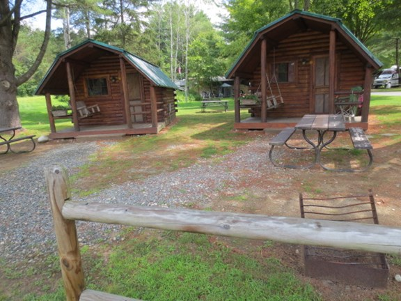 Cabins near restrooms and pool