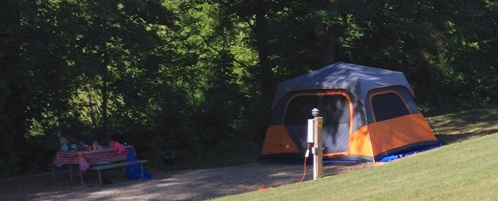 Water/Electric/Cable RV site that can also accommodate a tent