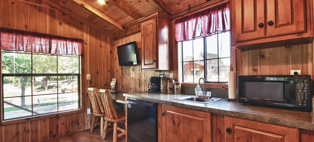 Scenic View Couples Cabin Kitchenette