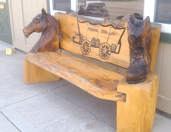 The bench was carved by Dave Watson with a chainsaw.  He did a beautiful job.