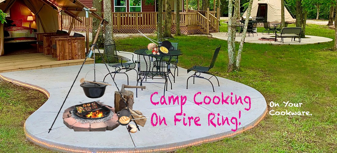 Bring your cookware to cook on our fire ring!