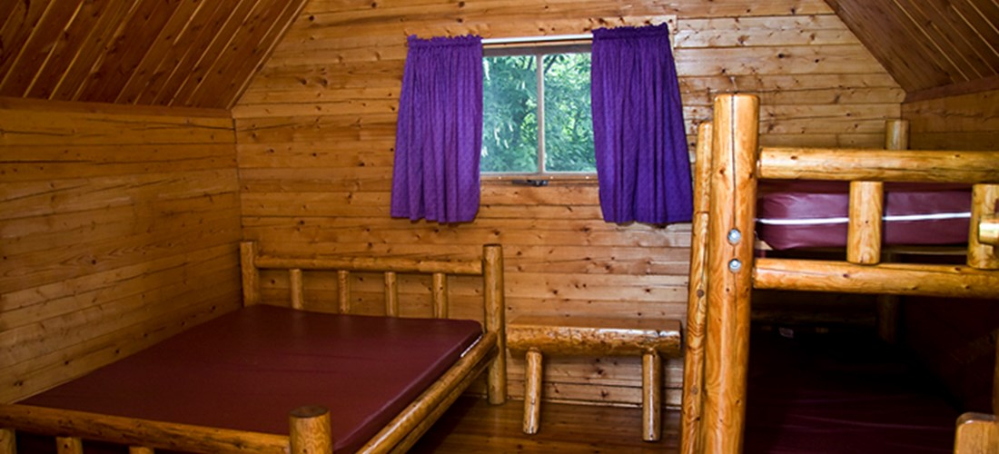 One Room Camping Cabin Interior at Missoula KOA