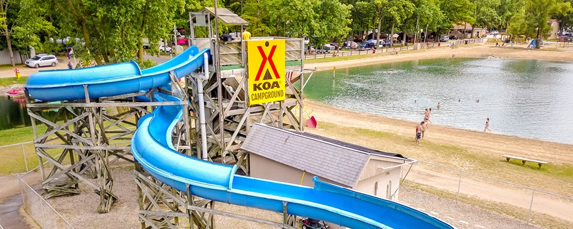 Cool off on our 220ft waterslide or take a dip in our swimming lake!