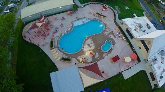 Enjoy our large pool and deck, day and night