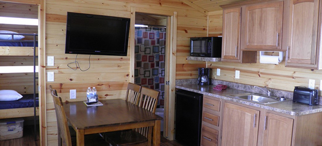 Our Deluxe Cabins even have TVs and the kitchens have all the amenities you'll need for your stay.