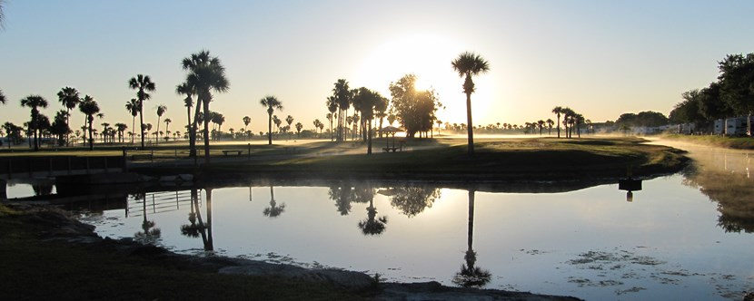 Watch the sun come up over our 9-Hole Par 34 Golf Course