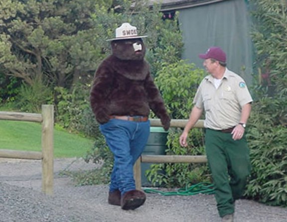 Smokey stopped by to teach camp fire safety