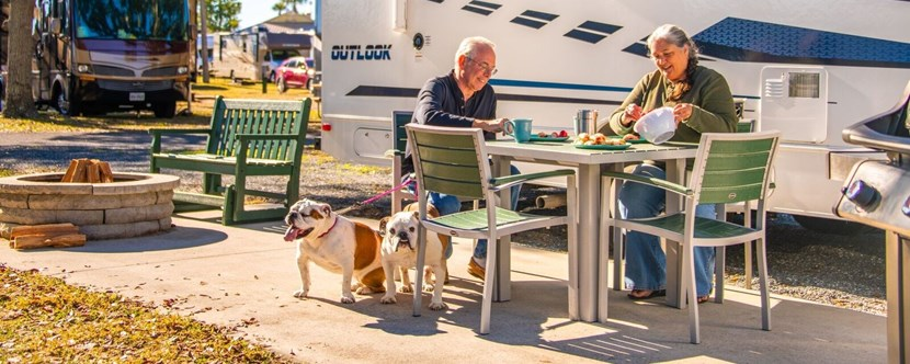 Upgrade your RV experience with a KOA Deluxe Patio site!