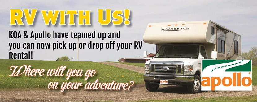 Rent RV's on site at our Apollo Depot