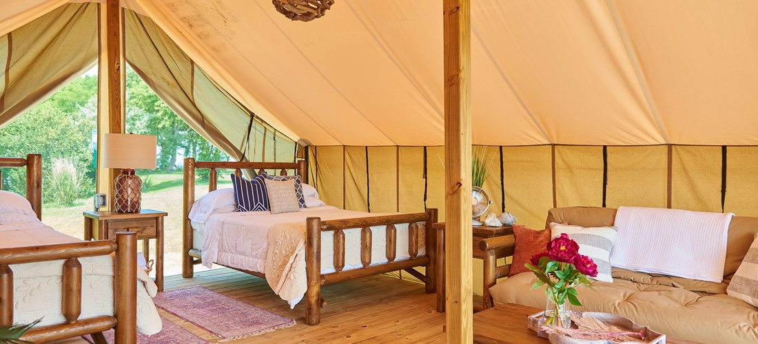 Outer Banks West KOA Safari Tent Interior.