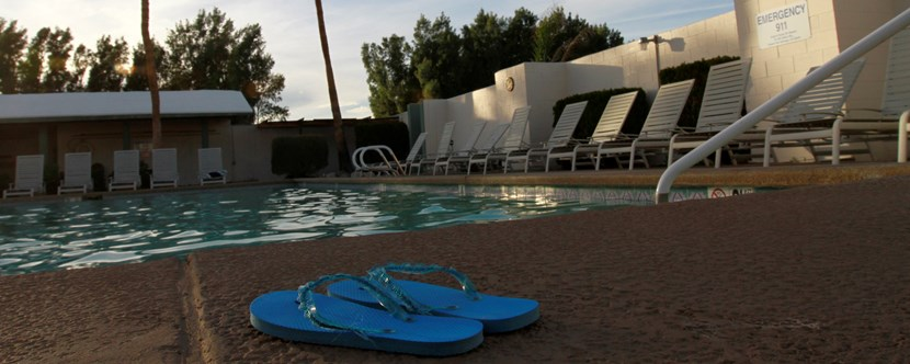 Pool Fed by Natural Hot Springs for Palm Springs Campground