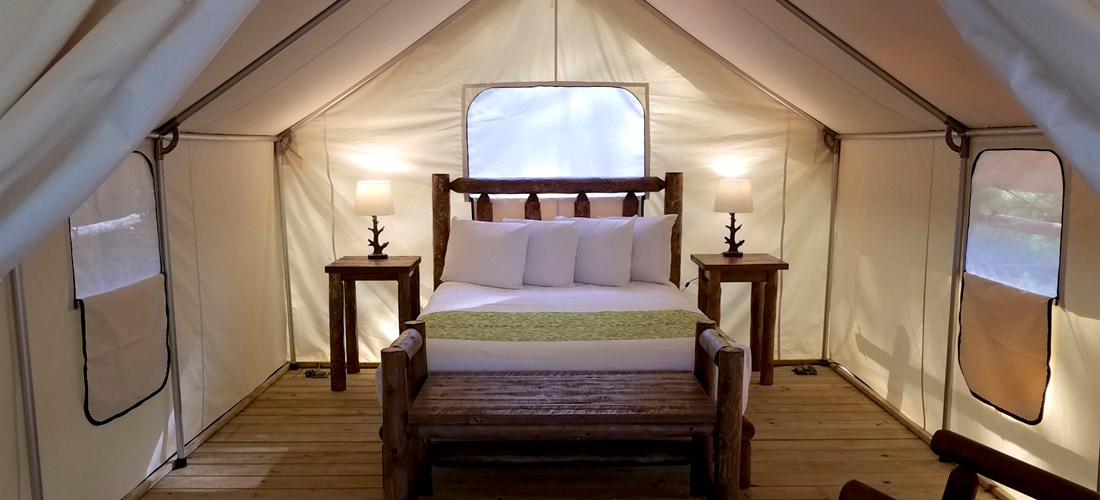 Inside our luxurious glamping tent.