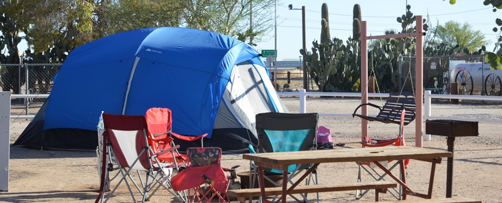 Roomy tent sites offer water, electricity, fire rings and grills.