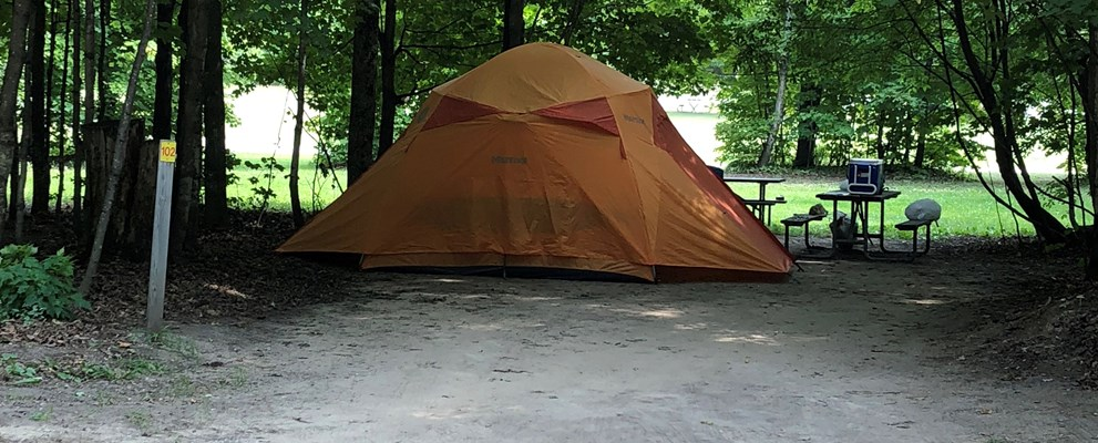 Our rustic tent sites have picnic table and fire pits no electric.