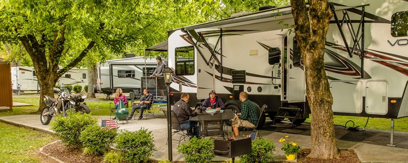 Spacious Deluxe Sites with KOA Patio.