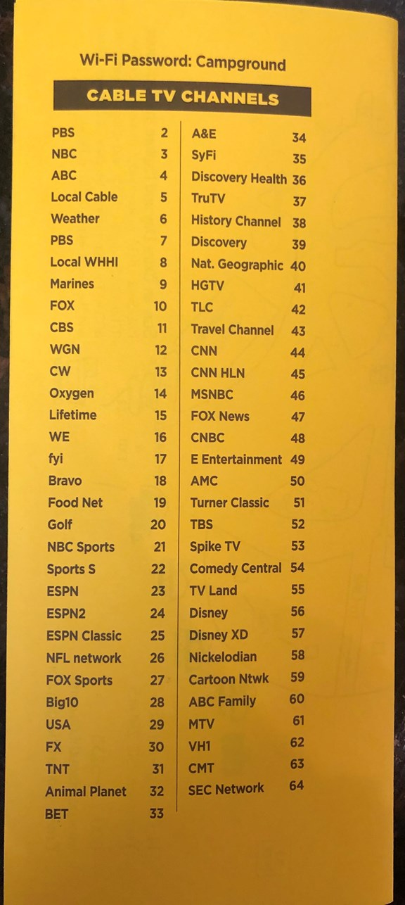 62 Channels of cable
